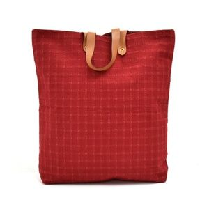 Auth Hermes Ahmedabad Red Cotton Canvas #2229H26B